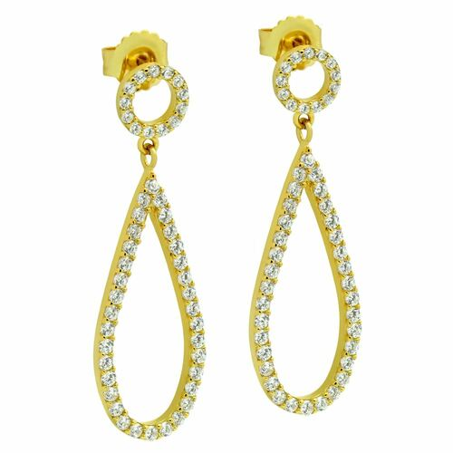 GOLD PLATED DROP AND CIRCLE OUTLINE CZ PAVE EARRINGS
