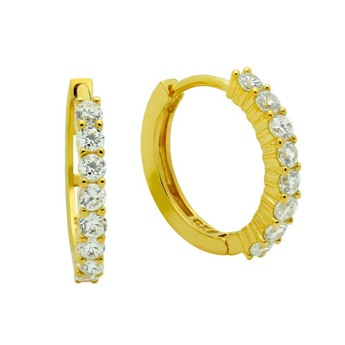 GOLD PLATED 18MM ROUND HUGGIE EARRINGS WITH 2.25MM CZ PAVE