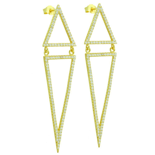 GOLD PLATED KITE OUTLINE POST EARRINGS WITH MICRO PAVE CZ