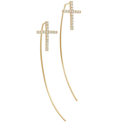 ROSE GOLD PLATED SLIP THROUGH WIRE EARRINGS WITH 10X14MM CZ CROSS