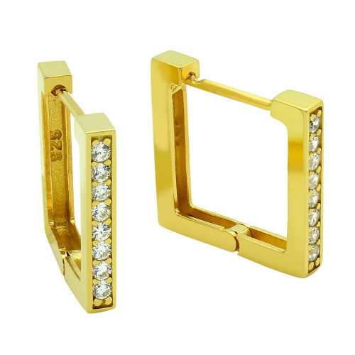 GOLD PLATED 17MM SQUARE HUGGIE EARRINGS WITH 1.75MM CZ PAVE