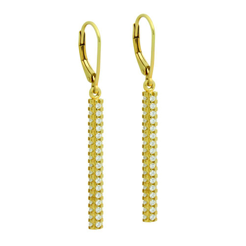 GOLD PLATED LEVERBACK EARRINGS WITH 32MM QUAD-ROW CZ BAR