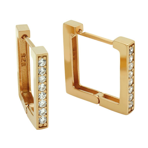 ROSE GOLD PLATED 17MM SQUARE HUGGIE EARRINGS WITH 1.75MM CZ PAVE