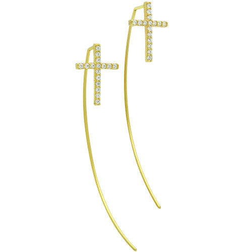 GOLD PLATED SLIP THROUGH WIRE EARRINGS WITH 10X14MM CZ CROSS