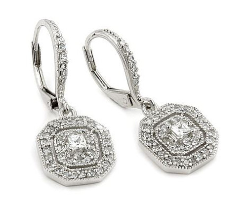 DANGLING ROUND AND SQUARE CZ EARRINGS