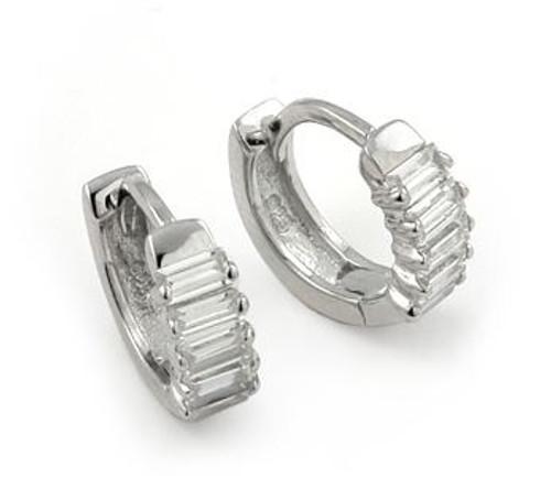 FINE CZ SMALL HUGGIE EARRINGS