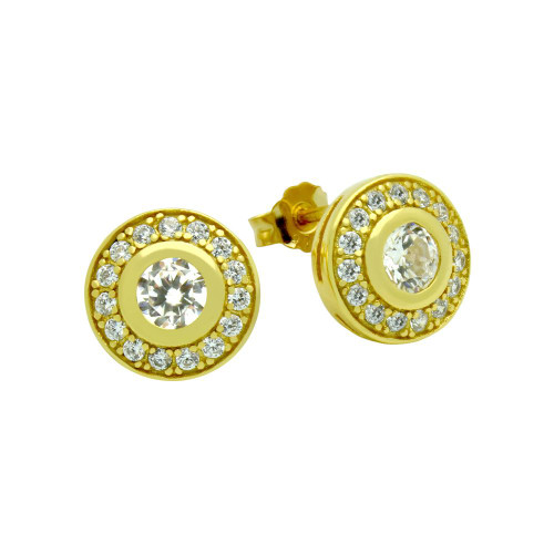 GOLD PLATED ELEGANT ROUND CZ EARRINGS
