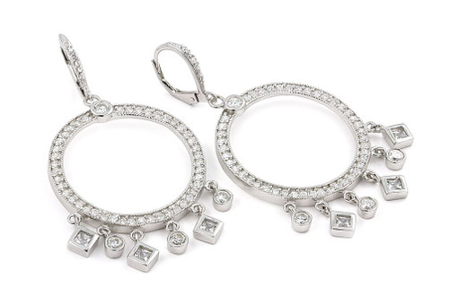 DANGLING ROUND EARRINGS WITH SQUARE AND ROUND CZS