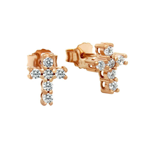 ROSE GOLD PLATED CZ PAVE 10X8MM CROSS STUD EARRINGS