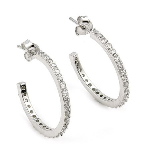 FINE CZ HOOP EARRINGS
