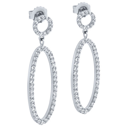 RHODIUM PLATED OVAL AND CIRCLE OUTLINE CZ PAVE EARRINGS