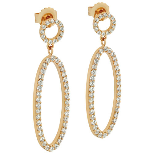 ROSE GOLD PLATED OVAL AND CIRCLE OUTLINE CZ PAVE EARRINGS