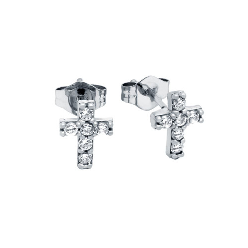 RHODIUM PLATED CZ PAVE 7X6MM CROSS STUD EARRINGS