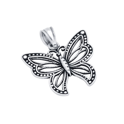STERLING SILVER 20MM INTRICATE BUTTERFLY PENDANT
