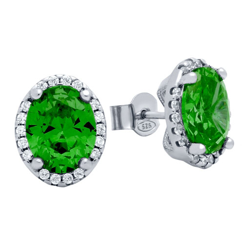 RHODIUM PLATED 8X10 GREEN OVAL CZ EARRINGS WITH ALL AROUND CLEAR CZ STONES