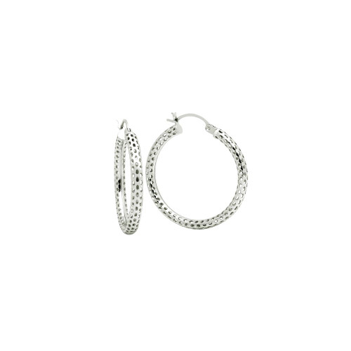 STERLING SILVER 3x26MM LIGHTWEIGHT MESH TUBE HOOP EARRINGS