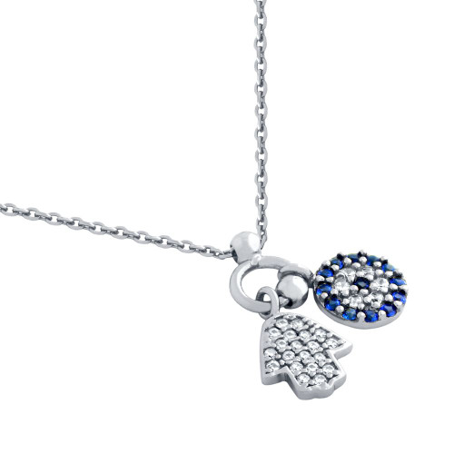 "RHODIUM PLATED CZ HAMSA AND ROUND BLUE CZ EYE NECKLACE 16"" + 1"""