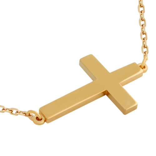"ROSE GOLD PLATED PLAIN SHINY CROSS NECKLACE 16"" + 2"""