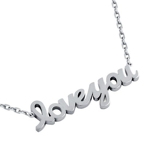 "RHODIUM PLATED HIGH POLISHED ""LOVE YOU"" NECKLACE 16"" + 2"""