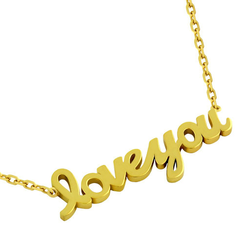 "GOLD PLATED HIGH POLISHED ""LOVE YOU"" NECKLACE 16"" + 2"""