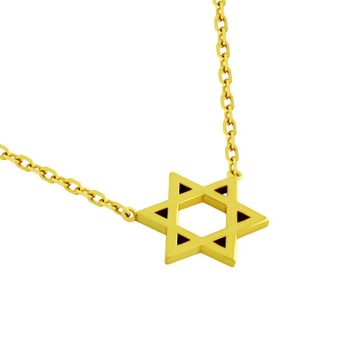 "GOLD PLATED HIGH POLISHED STAR OF DAVID NECKLACE 16"" + 2"""