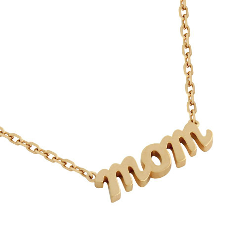 "ROSE GOLD PLATED HIGH POLISHED ""MOM"" NECKLACE 16"" + 2"""