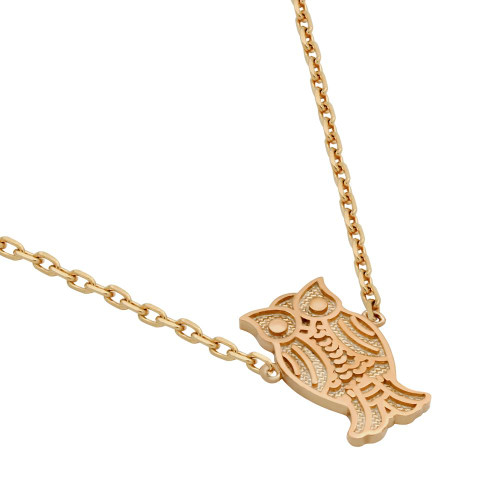 """ROSE GOLD PLATED OWL NECKLACE 16"""" + 2"""""""