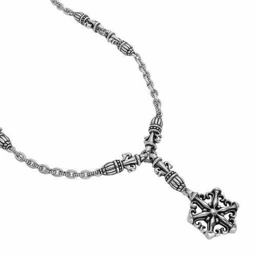 "TWISTED BLADE SILVER 21"" STYLIZED SNOWFLAKE NECKLACE"