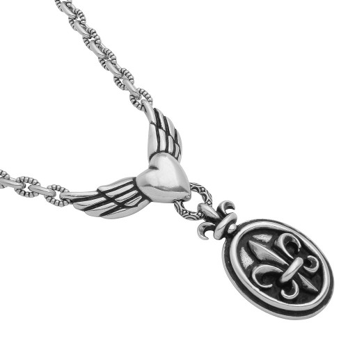 "TWISTED BLADE SILVER 22"" FLEUR DE LIS AND WINGED HEART NECKLACE"