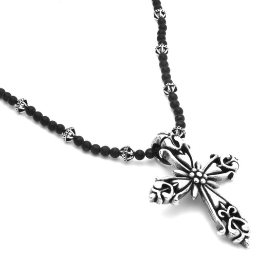 TWISTED BLADE SILVER AND AGATE BEAD NECKLACE WITH ORNATE FLEUR DE LIS CROSS