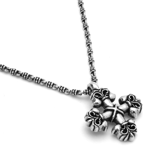 TWISTED BLADE SILVER 3.5MM STUDDED LINK NECKLACE WITH FLEUR DE LIS SQUARE CROSS PENDANT