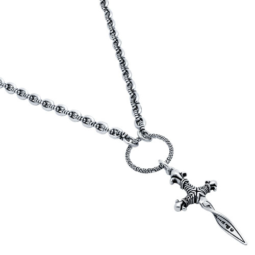 TWISTED BLADE SILVER BEADED NECKLACE WITH A DANGLING SMALL TWISTED DAGGER PENDANT 22""