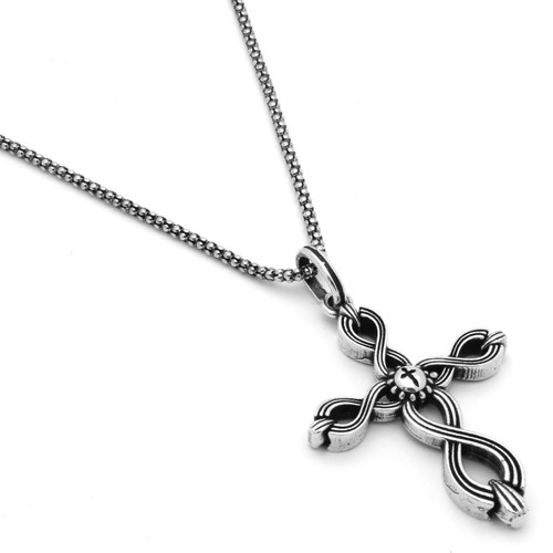 "TWISTED BLADE SILVER 24"" NECKLACE WITH WOVEN CROSS PENDANT"