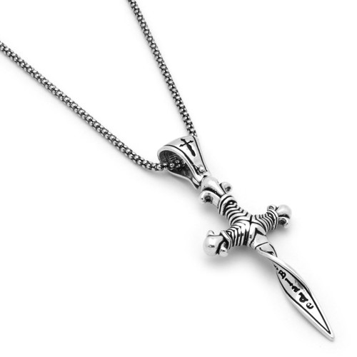 "TWISTED BLADE SILVER 24"" necklace with dagger pendant"