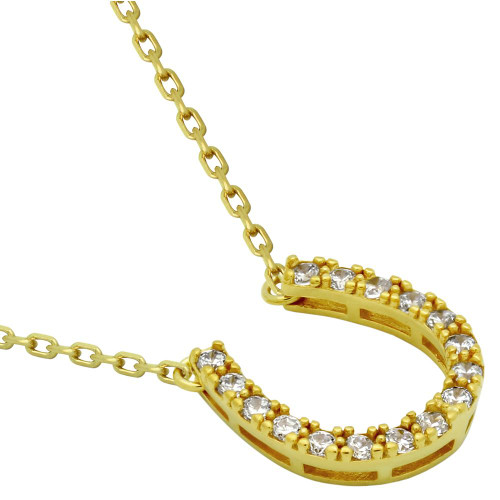"GOLD PLATED CZ HORSESHOE NECKLACE 16"" + 2"""