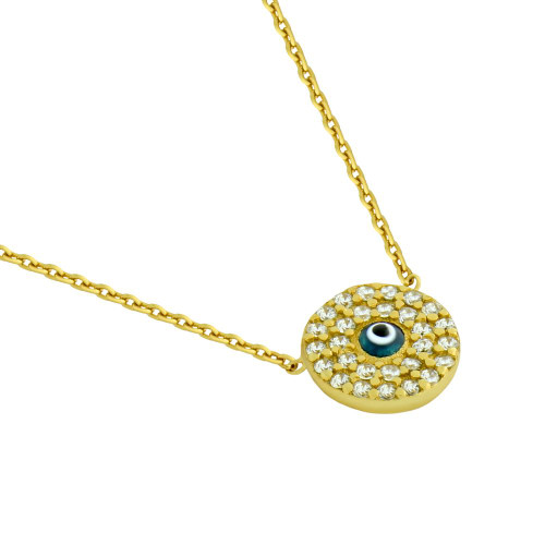 "GOLD PLATED CLEAR CZ ROUND NECKLACE WITH DARK BLUE EYE 16""+1"""
