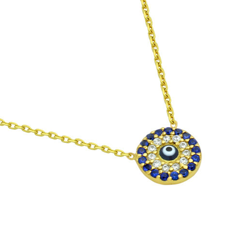 """GOLD PLATED DARK BLUE EYE NECKLACE WITH CLEAR AND BLUE CZ 16""""+1"""""""