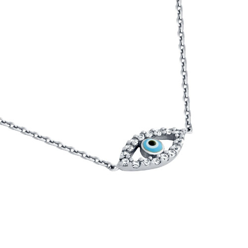 "RHODIUM PLATED CLEAR CZ EYE NECKLACE WITH LIGHT BLUE EYE 16"" +1"""