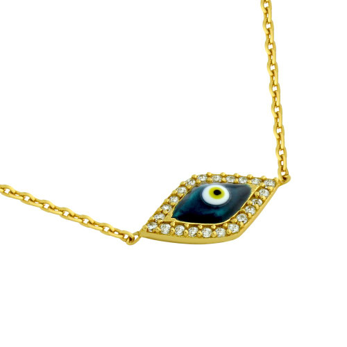 """GOLD PLATED CLEAR CZ EYE NECKLACE WITH DARK BLUE EYE 16"""" +1"""""""