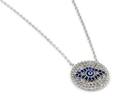 "CLEAR AND BLUE CZ ROUND NECKLACE WITH A DARK BLUE EYE CENTER 16""+1"" ADJUSTABLE"