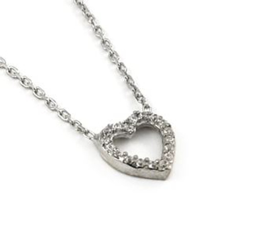 "FINE CZ CUT OUT HEART NECKLACE 16""+1"""