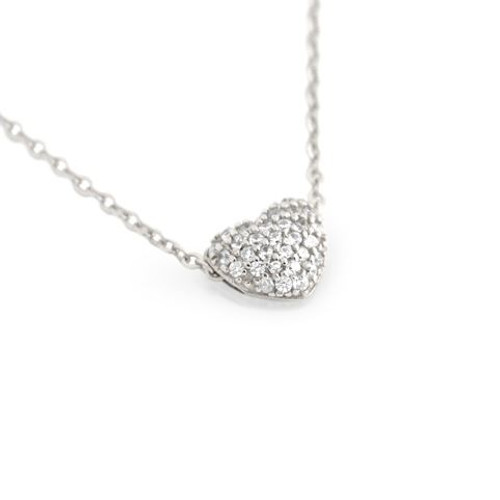 """RHODIUM PLATED DOUBLE SIDED CZ HEART SLIDER NECKLACE 16""""+1"""""""
