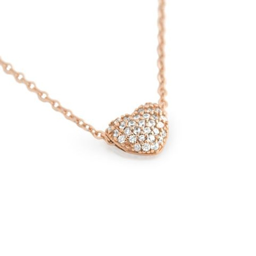 """ROSE GOLD PLATED DOUBLE SIDED CZ HEART SLIDER NECKLACE 16""""+1"""""""