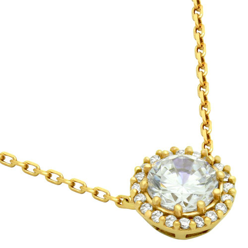 "GOLD PLATED ROUND CZ HALO NECKLACE 16"" + 2"""