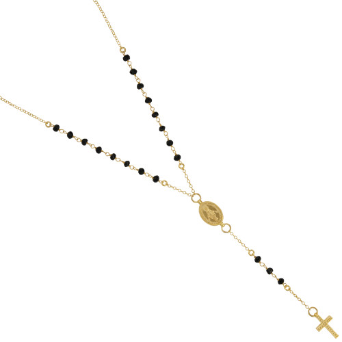 "GOLD PLATED BLACK SPINEL ROSARY NECKLACE 18"" + 2"""