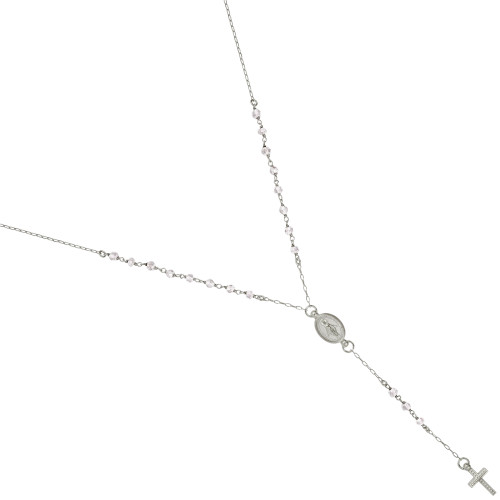 "RHODIUM PLATED MOONSTONE ROSARY NECKLACE 18"" + 2"""