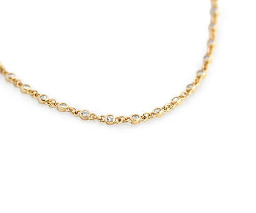 "GOLD PLATED CZ BY THE YARD NECKLACE 30"" + 2"" WITH CZ PER 1/4 INCH"