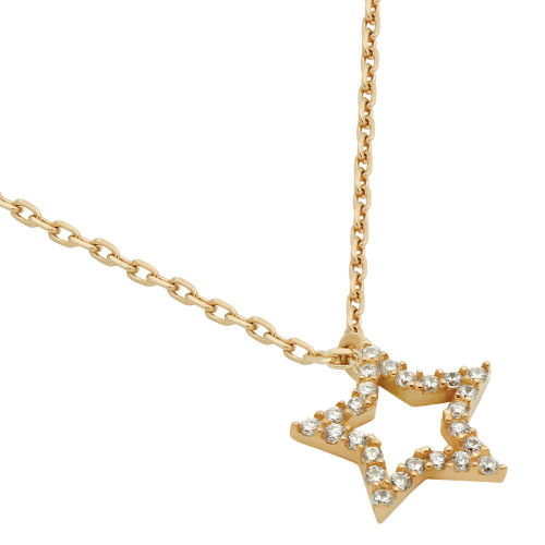 """ROSE GOLD PLATED CZ STAR NECKLACE 16"""" + 2"""""""