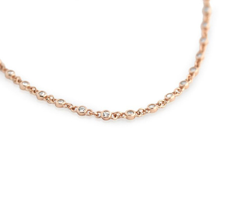 "ROSE GOLD PLATED CZ BY THE YARD NECKLACE 30"" + 2"" WITH CZ PER 1/4 INCH"