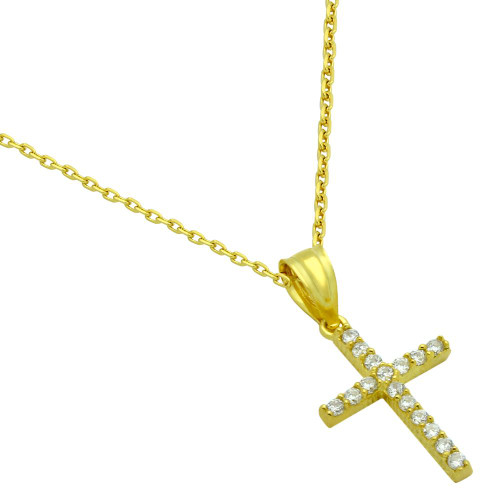 GOLD PLATED SMALL CZ CROSS NECKLACE